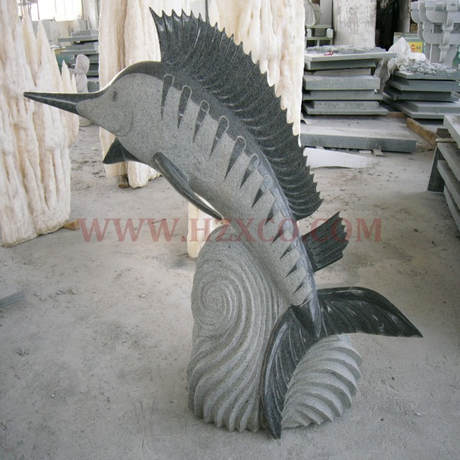 HZX-Grey Granite Fish Sculpture