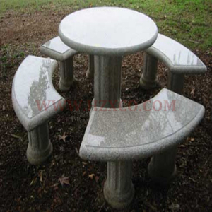 HZX-White Granite Table and Bench